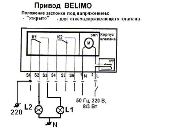 Рис. 3 Схема подключения клапана ТПК-1 с приводом Belimo.  Элементы и устройства Л1, Л2 в... Контроль положения...