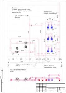 Схема расположения оборудования в помещении насосной станции 1