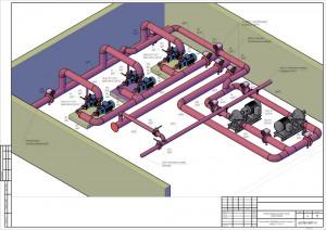 Схема расположения оборудования в помещении насосной станции 2