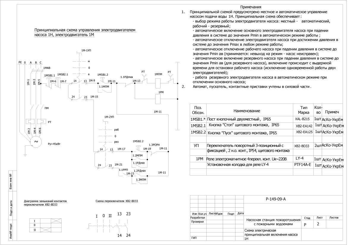 Принципиальная схема станции управления насосами