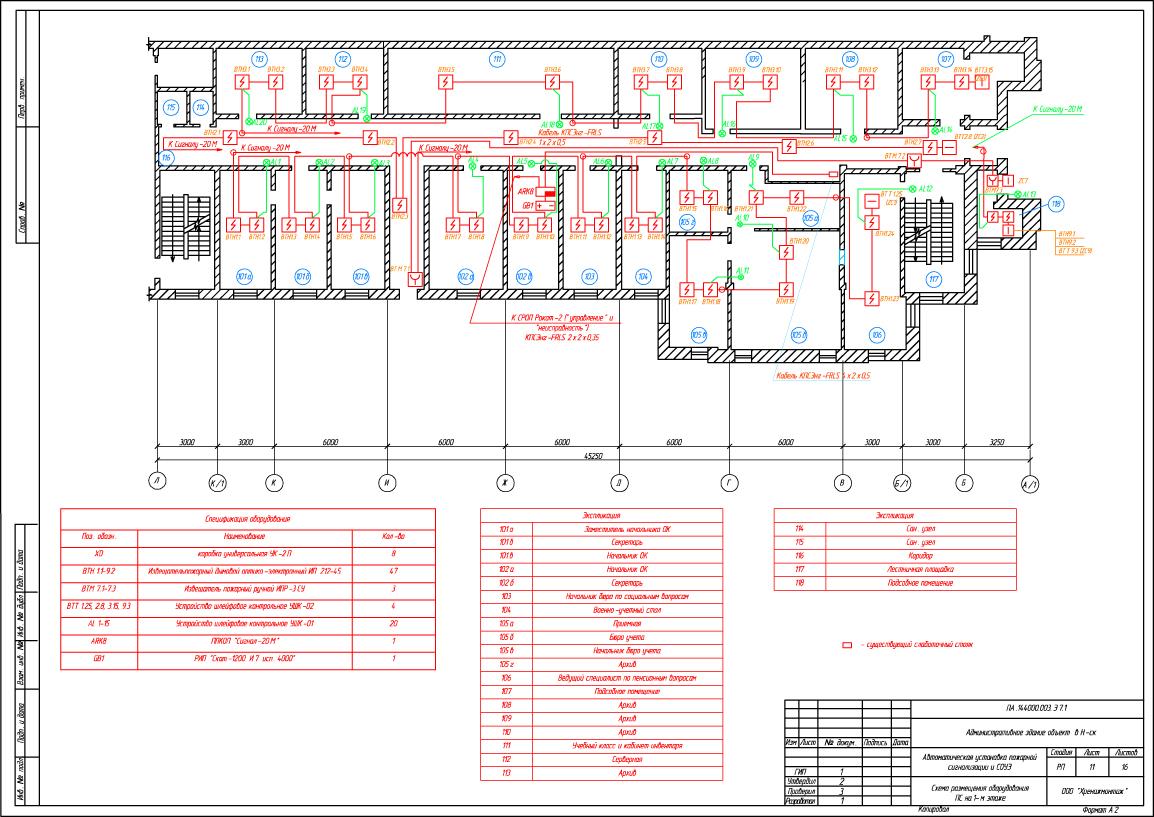 Проект пожарной сигнализации и системы речевого оповещения о пожаре 3-х этажное административное здание с подвалом.