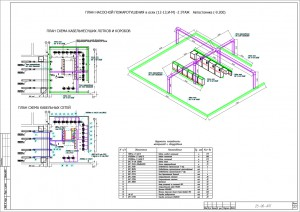 Схемы прокладки кабельных трасс и расположения оборудования в насосной станции