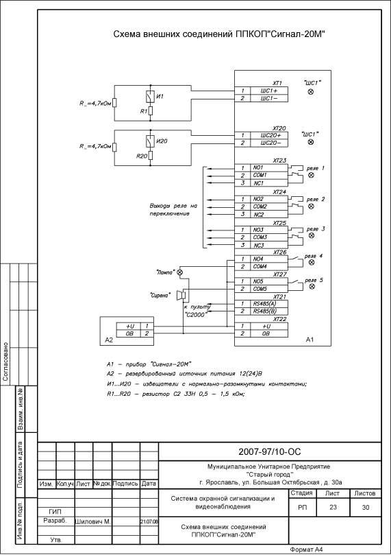 Схема подключения прибора