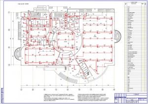 План расположения оборудования АПС на 1 этаже