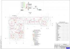 План прокладки сетей пожарной сигнализации на 2 этаже