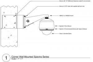 Схема монтажа купольной поворотной телекамеры наблюдения