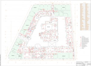 План прокладки сетей на первом этаже здания