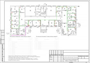 План прокладки кабельных трасс на 1 этаже