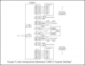 """Схема электрическая подключения """"С2000-2"""" в режиме """"Шлагбаум"""""""