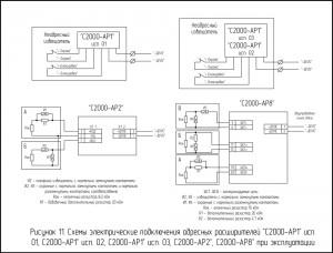 """Схемы электрические подключения адресных расширителей """"C2000-АР1"""" исп. 01, C2000-АР1"""" исп. 02, C2000-АР1"""" исп. 03, C2000-АР2"""", C2000-АР8"""" при эксплуатации"""