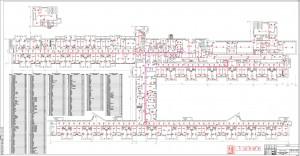 План расположения устройств пожарной сигнализации. 1 этаж