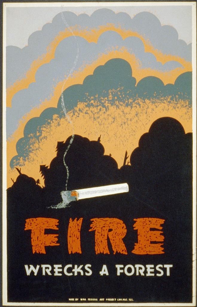 Огонь уничтожает лес! Плакат 1938 года, США