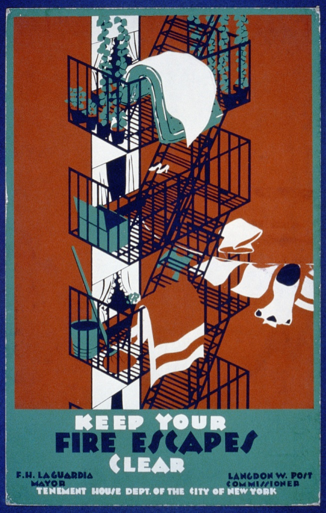 Держите свободными пути эвакуации. Плакат 1936 г.. США