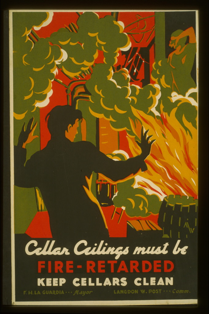 Перекрытия подвалов должны быть защищены от пожара! Соблюдайте чистоту в подвалах! Плакат 1936 г., США