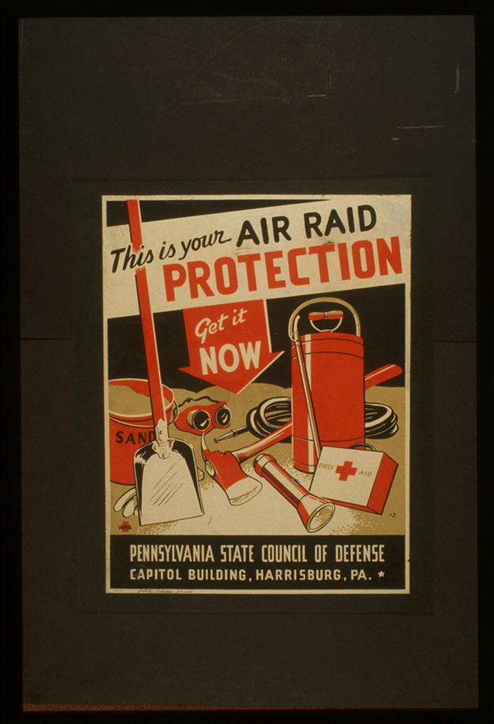 Это твоя защита при воздушном налете. Получи сейчас! Плакат 1942 г., США