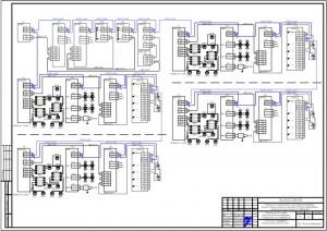 Схема электрическая подключений системы пожарной сигнализации в помещениях общежития