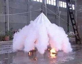 Тушение возгорания огнетушащим порошком с помощью порошкового модуля