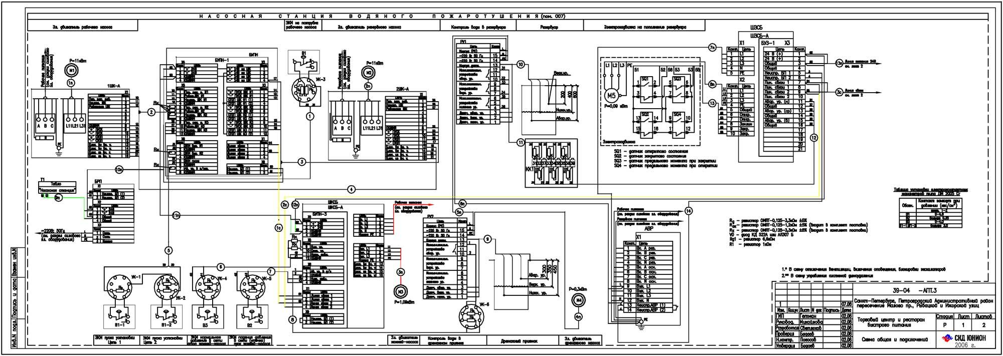 Схема электрическая насосной станции пожаротушения