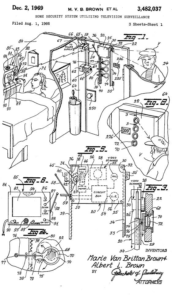 Иллюстрации из патента Мэри Ван Бриттан Браун, 1969 год