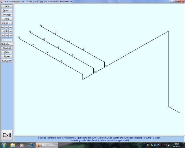Пример графической части программы гидравлического расчета в зарубежных программах