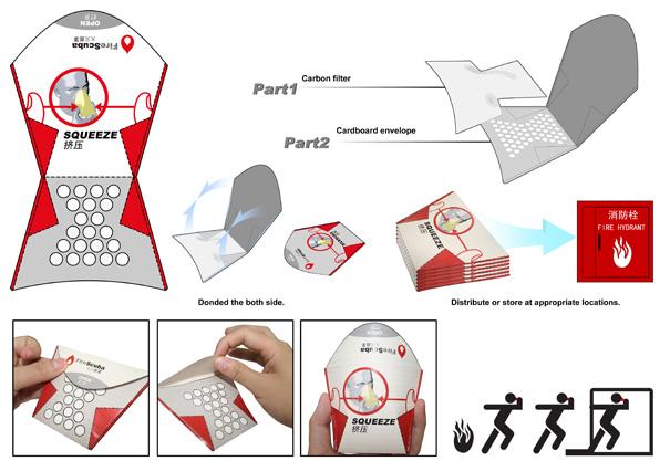 Одноразовый картонный респиратор для объектов с массовым пребыванием людей. Дизайнер Dang Jingwei