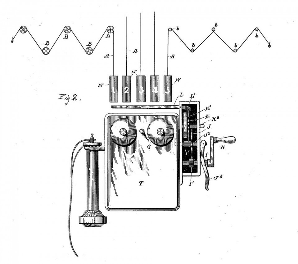 """Патент на механическую пожарную сигнализацию на несколько """"шлейфов"""". США, 1886 год"""