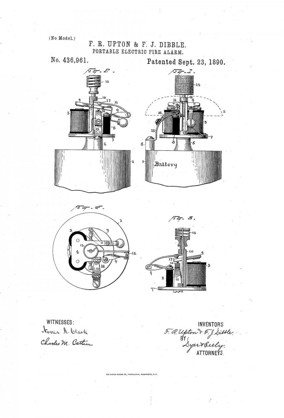 Рисунок автоматического пожарного извещателя из патента Аптона и Диббла, США, 1890 год
