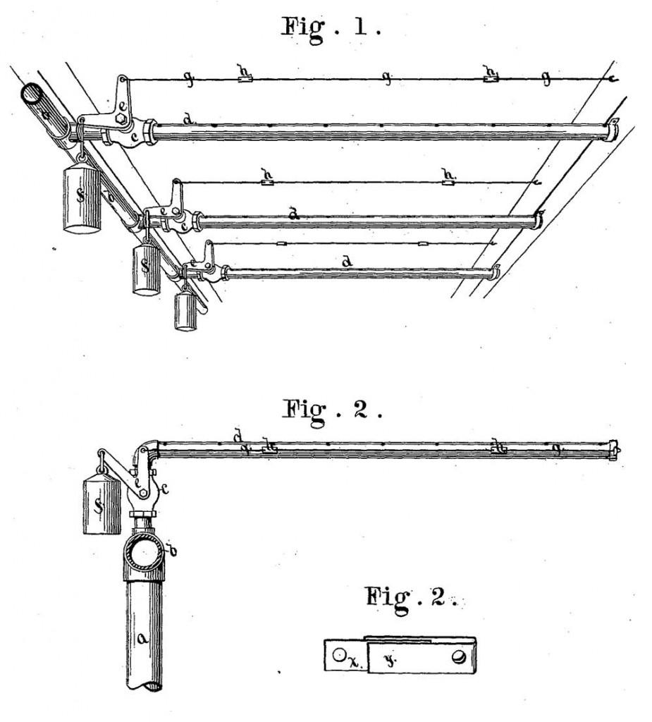Система управления секционными клапанами пожаротушения. Иллюстрация из патента Ф. Гриннелла 1882 года