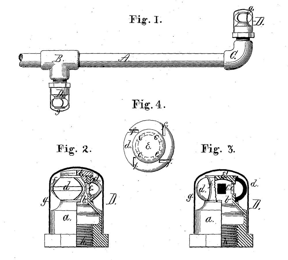 Рисунок из патента Пармели на спринклер с вращающимся распределительным колесом, 1878 год