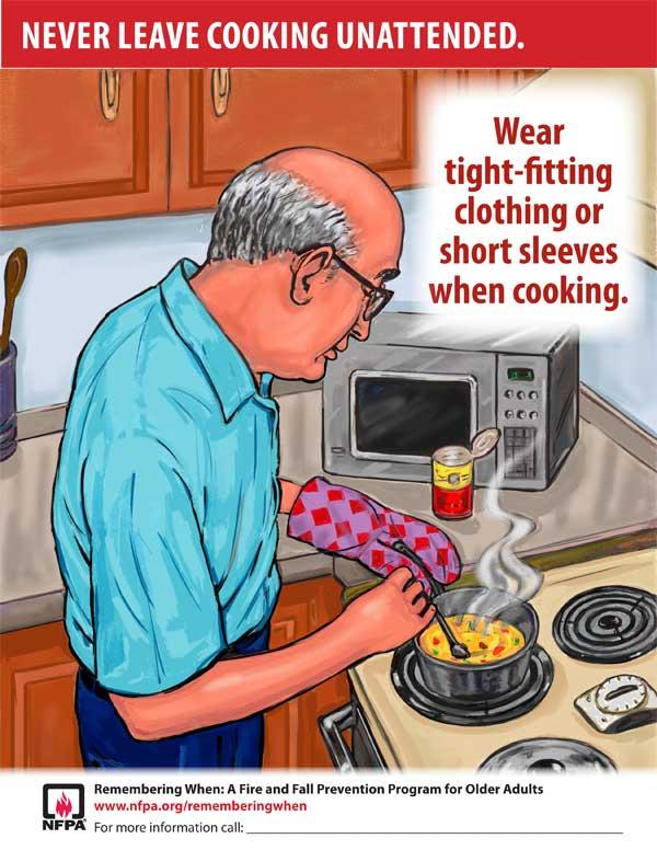Используйте облегающую одежду или одежду с коротким рукавом во время приготовления пищи