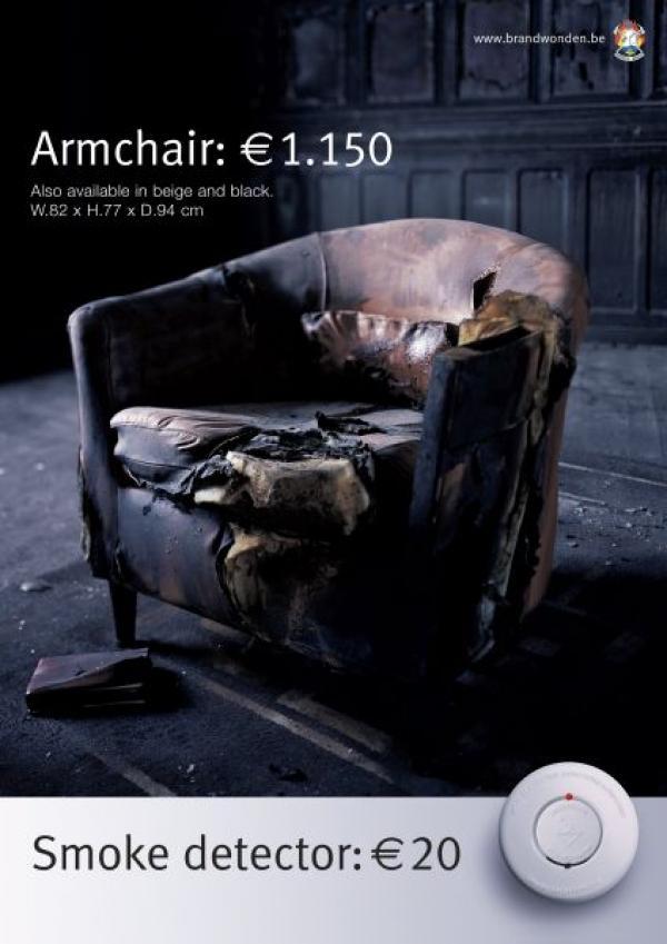 Кресло - 1150 евро, датчик дыма - 20 евро