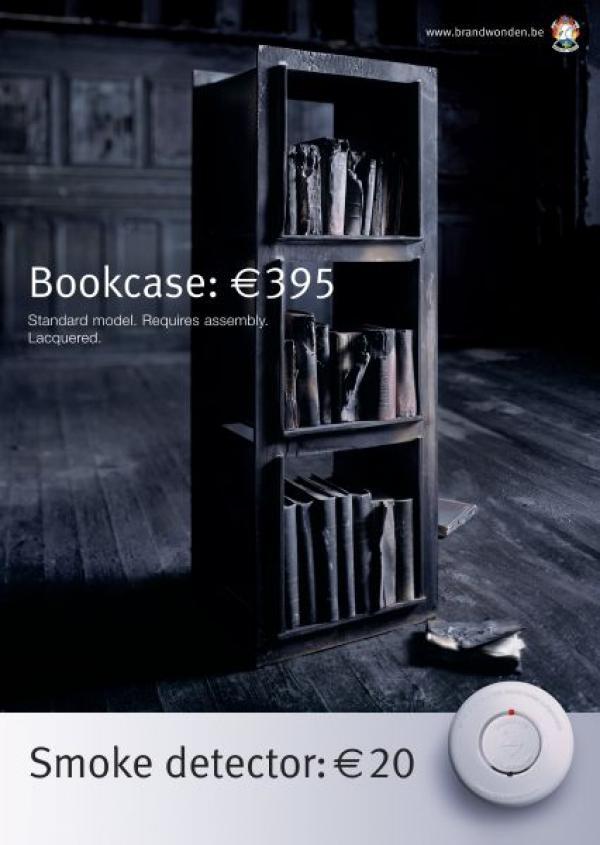 Книжный шкаф - 395 евро, датчик дыма - 20 евро
