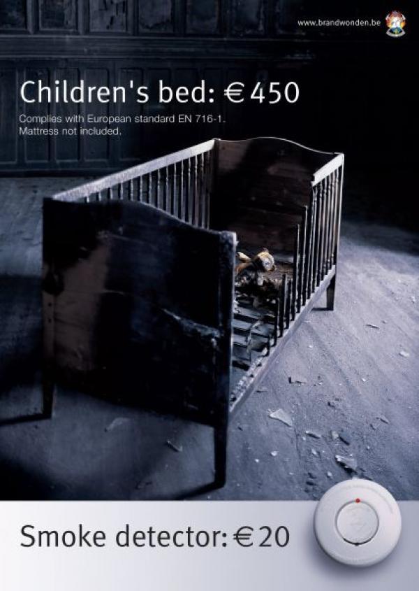 Детская кроватка - 450 евро, датчик дыма - 20 евро