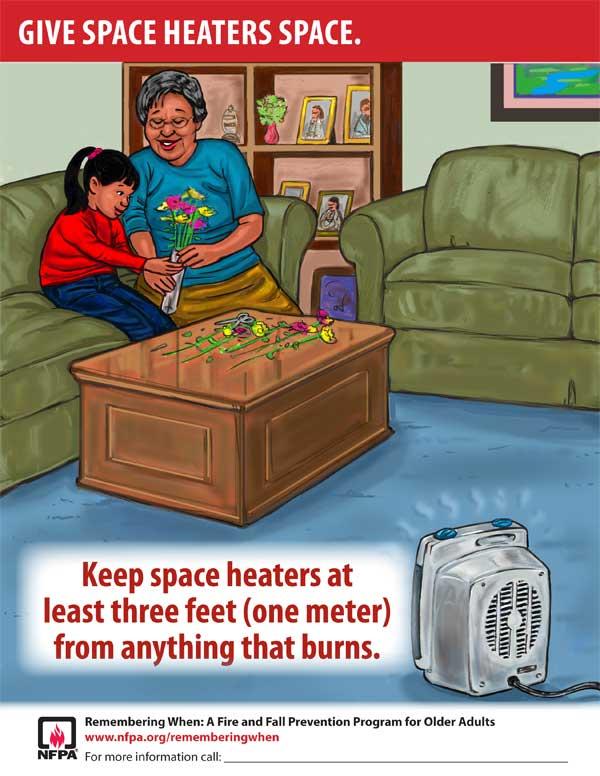 Обеспечьте пространство между нагревателем и всем, что может гореть, по крайней мере один метр