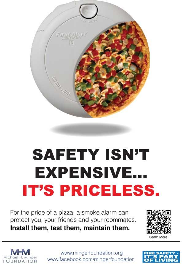 Безопасность стоит недорого. Однако она бесценна. По цене пиццы, пожарная сигнализация защитит тебя, твоих друзей и соседей
