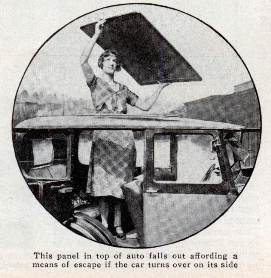 Автоматический пожарный выход а автомобиле, фото из журнала Modern Mechanics, 1933 год
