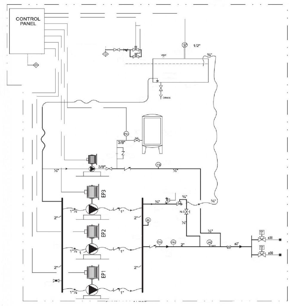 Принципиальная схема установки пожаротушения высокого давления